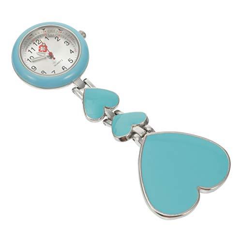 UKCOCO Reloj de Enfermera Clip de Médico en La Solapa Colgante Relojes de Bolsillo de Enfermera Broche de Clip en El Reloj Luminoso Forma de Corazón Azul