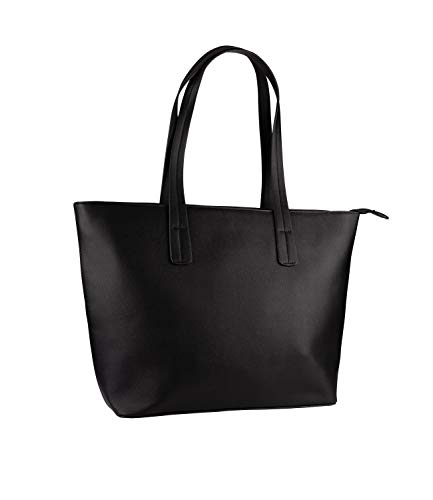 SIX 1 pc. of Ladies bag, handbag, big shopper, black with golden closure, three small inside pockets...
