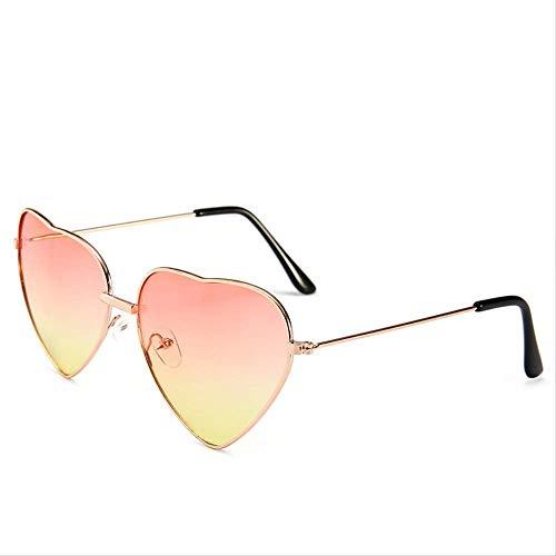 Fashion Heart-shaped Sunglasses Ladies Metal Reflective Fashion Sunscreen Glass Men's Mirror Oculos