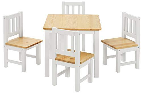 BOMI Stabile Kindersitzgruppe | Baby Möbel Set 4 Stühle und Tisch Amy | aus Kiefer Massiv Holz für Kleinkinder ab 36 Monate bis 6 Jahre