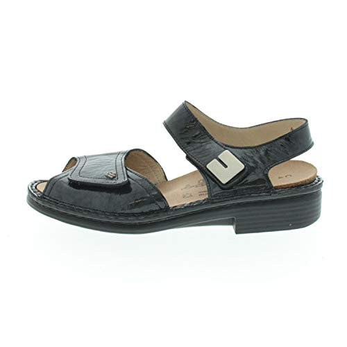 Finn Comfort Damenschuhe Sandalen Offen Luxor Schwarz Lack 240822144 (Fraction_36_and_2_Thirds)