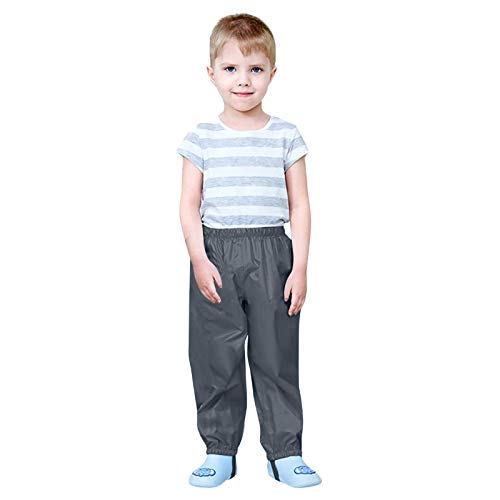 yazidan Pantalones de lluvia para niños, unisex, peto de lluvia para niñas, jóvenes, resistentes al viento e impermeables, transpirables, para cubrir los pantalones de esquí 04#-negro 92 cm