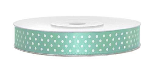 Satinband gepunktet Mint 12mm Schleifenband Mint Satin Deko Band Mint Geschenkband Deko Band Mint Geschenkverpackung für Luftballons Blumen Hochzeit Deko Rolle 25m, mit weißen Punkten Mintgrün