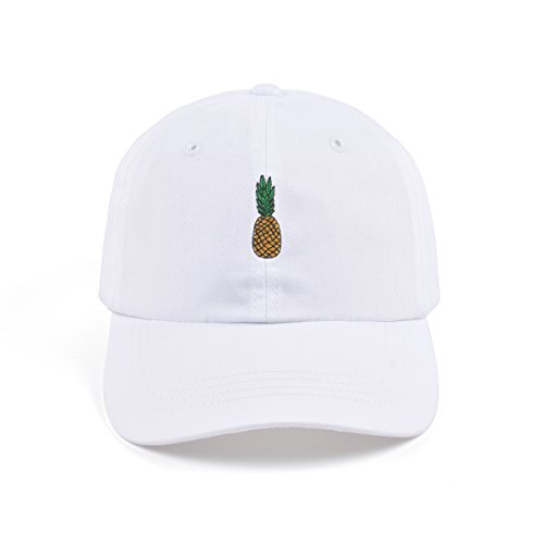AUNG CROWN Pineapple Embroidered Dad Hat Cotton Women Men Cute Adjustable Baseball Cap (White)