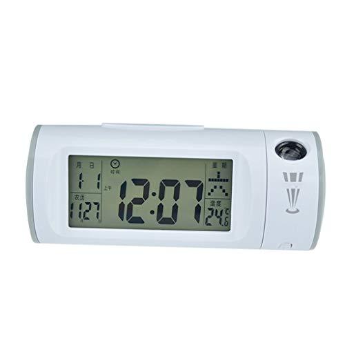 zunruishop Reloj de Escritorio Pantalla LED Proyección Moderna LED Alarma electrónica Función de Despertador Dos despertadores Sonido Temporizador de Apagado automático Reloj (Color : Gray)