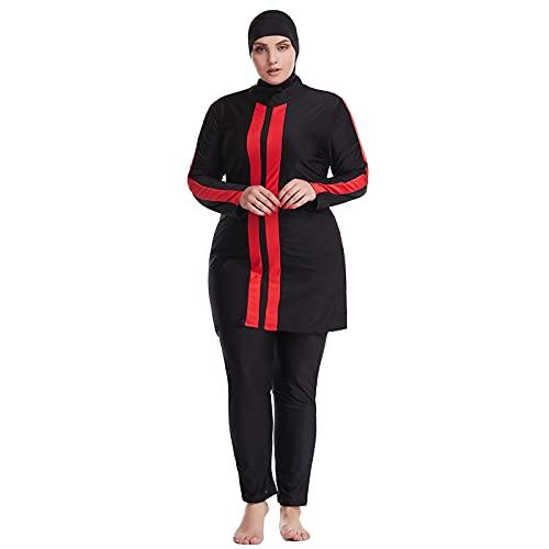 AllMonyba Trajes de baño Musulman Talla Grande - 3 Piezas Mujer Cobertura Completa Modesto Traje de baño Islámico Kaftan Ropa de Playa Traje de Natacion con Hijab