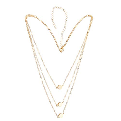 Deniferymakeup Women Wedding Bridal Multi-layer Necklace Metal Round Disc Necklace Unique Versatile Gold Plated Necklace Dainty Chain Layering Necklace Gift for Girls Bridesmaid (Gold)