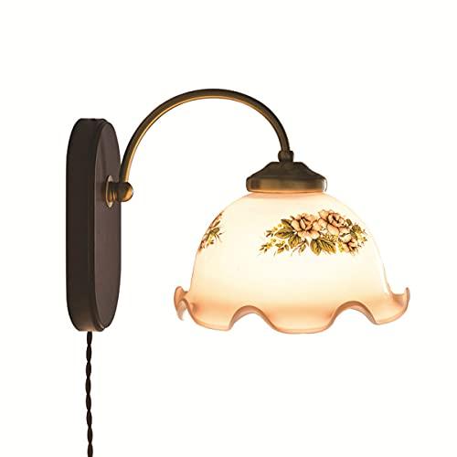 FREEDL Interior Lámpara De Pared Madera Vintage Con Interruptor, E27 Luces De Pared Vidrio Retro Con Efecto De Latón, Bañadores De Pared Dormitorio Antiguo Iluminación Interior Rústico Para Salon