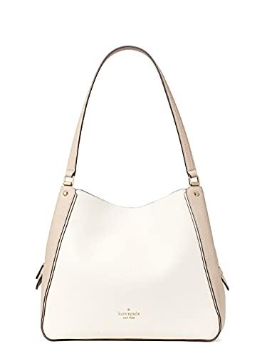 Kate Spade Leila Colorblock Medium Triple Compartment Shoulder Bag Purse Handbag, WARM BEIGE MULTI
