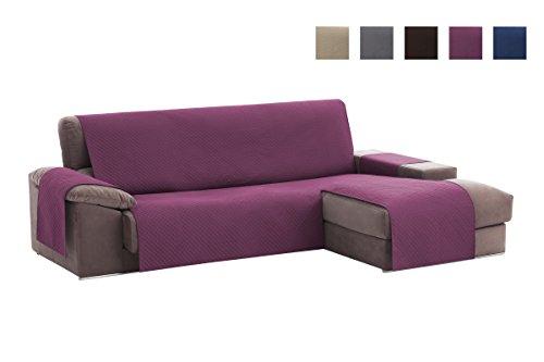 Textilhome - Copridivano Salvadivano Chaise Longe Adele - Color Malva -BRACCIOLO Destro - Protezione per divani Imbottiti - Dimencione 240cm -(Visto di Fronte).