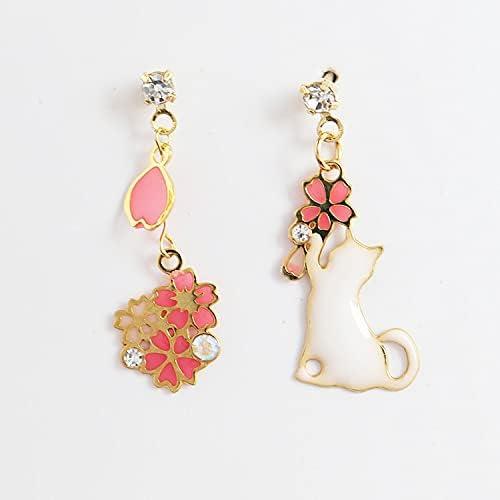 Romantic Sweet Cute Flowers Tassel Max 57% OFF Tucson Mall Leaves Cat Earrings Fas Women