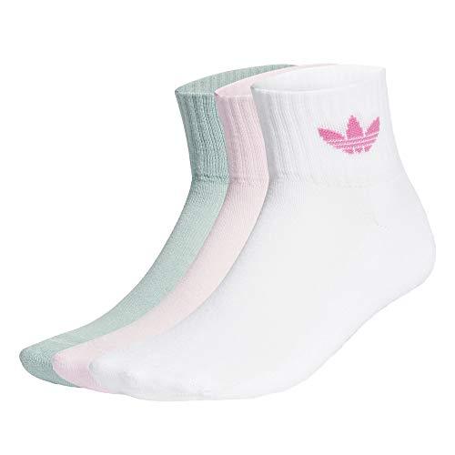 adidas Mid Ankle Socks Socken 3er Pack (34-36, white/pink/green)