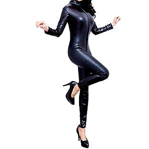 セクシー系 フェイクレザー キャットスーツ ダブルファスナー【超大きい XXLサイズ ブラック】ボディスーツ コスプレ
