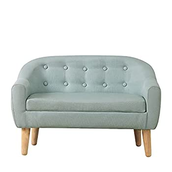 Kids Sofa/Big Kids Couch/Linen Fabric 2-Seater Upholstered Couch,Perfect for Children Gift 30-Inch   Sage