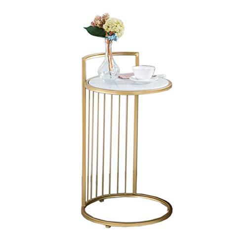 Jcnfa-bijzettafel smeedijzer marmer ronde tafel gouden persoonlijkheid bijzettafel woonkamer Bank, kleine bijzettafel gehard glas salontafel voor bed of bank,3 kleuren