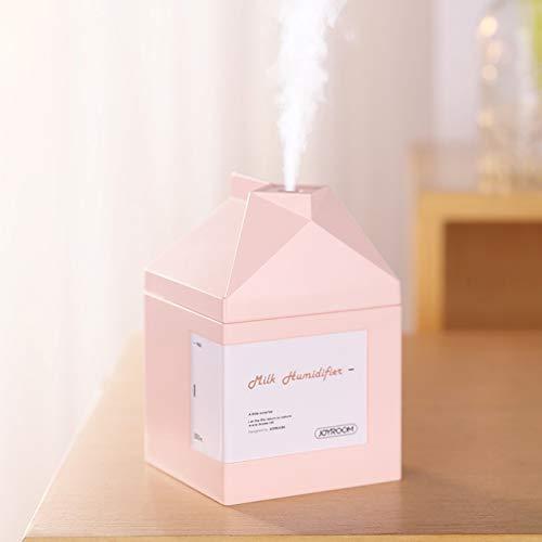 Yuechenxin Mini Humidificador, Forma JR-CY269 Leche Caja silencioso humidificador, Tanque de Agua Capacidad: 260 ml, Super-Mini Humidificador para la Oficina en el H (Color : Pink)
