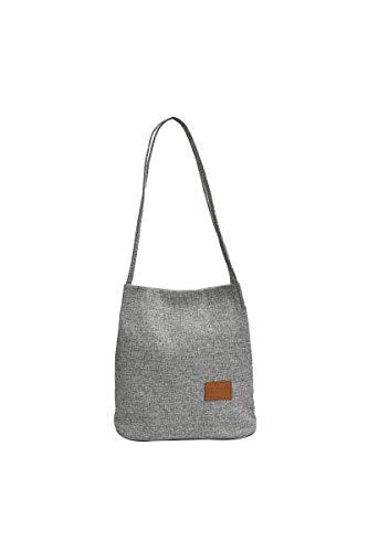 Ulisty Damen Leinen Schultertasche Klein Handtasche Beiläufig Eimer Tasche grau
