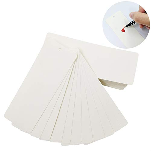 100 Pack Blank Bookmarks to Decorate - DIY Crafts White Bookmarks with Hole for String or Tassel