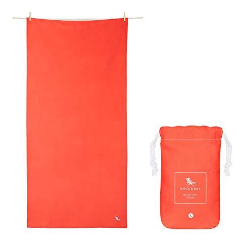 Dock & Bay Serviette pour Un Sechage Rapide – pour Le Sport & la Gym - Compacte, Legere – 100% recyclee – Contient Un Sac – Classic - Aurora Red - Extra Large (200x90cm, 78x35)