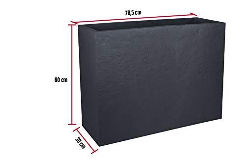 Kreher XL Pflanzkasten rechteckig der Serie Stone in Anthrazit, aus robustem Kunststoff, in verschiedenen Größen (46 L)
