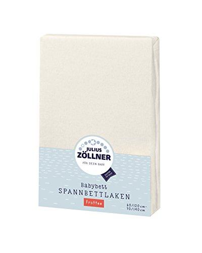 Julius Zöllner 8300113230 - Spannbetttuch Frottee für Kinderbett, Größe: 60x120 cm / 70x140 cm, Farbe: ecru