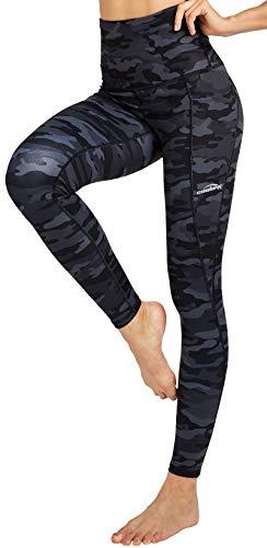 COOLOMG Damen Yoga Leggings Sporthose Laufhose Fitnesshose Gemustert Blickdicht mit Taschen Camo-schwarz XL