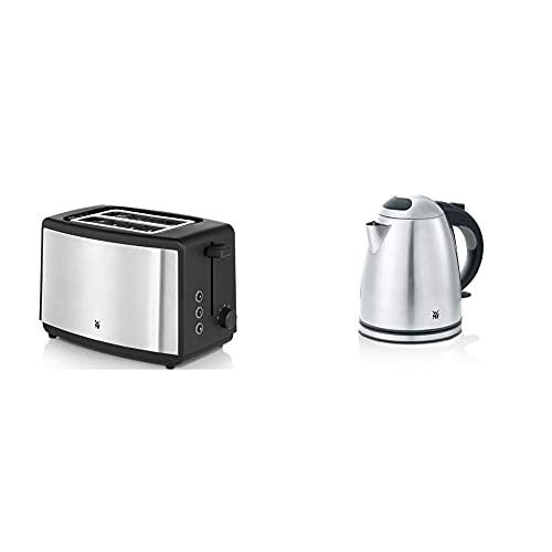 WMF Bueno Edition Toaster Edelstahl, Doppelschlitz Toaster mit Brötchenaufsatz, 2 Scheiben, 7 Bräunungsstufen, 800 W & Stelio Wasserkocher Edelstahl 1,2l, elektrischer Wasserkocher, 2400 W