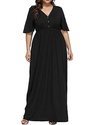 Allegrace Women's Plus Size V Neck Button up Maxi Dress Bell Sleeve Beach Long Dresses