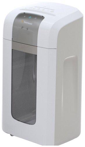 Bonsaii 4S23 Aktenvernichter, bis zu 8 Blatt Papier, Mikroschnitt (Sicherheitsstufe P-5), mit CD - Shredder, 2 Stunden Dauerbetrieb (ca. 4500 DIN A4 Seiten) - geeignet nach DSGVO 2018, weiß/silber