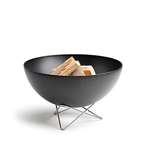 höfats - Bowl Feuerschale mit Drahtfuß - als Feuerstelle, Grill und Plancha nutzbar - für Garten und Terrasse - Stahl emailliert - schwarz