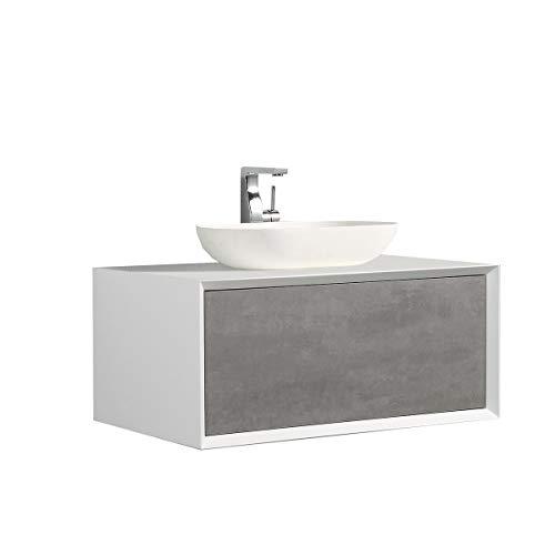 Badmöbel Fiona 900 Weiß matt - Front in Beton-Optik - -Ohne Spiegel, ohne zusätzl. Blende, Ohne Waschbecken