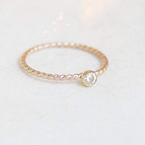 14k ROSE gold filled gemstone stacking ring. ONE birthstone ring with TWIST band. minimalist engagement ring.