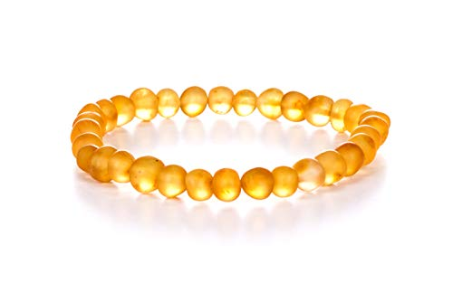 AMBERAGE Natural Baltic Amber Bracelet for Adults (Women/Men) - Hand Made from Raw-Unpolished/Certified Baltic Amber Beads(6 Colors) (7, Raw-Unpolished Honey)