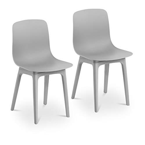 Fromm & Starck Star_SEAT_06 Stuhl 2er Set bis 150 kg Sitzfläche 44 x 41 cm grau Kunststoffstuhl Stuhlbeine Metall Küchenstuhl