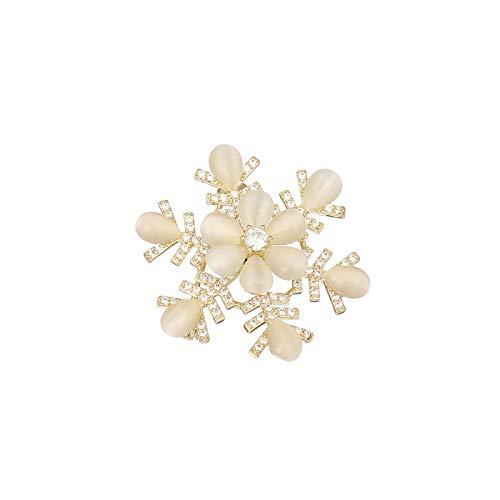 Broche de diamantes de imitación de ópalo con forma de copo de nieve de moda para mujer abrigo chal ropa Collar alfileres de flores accesorios de joyería