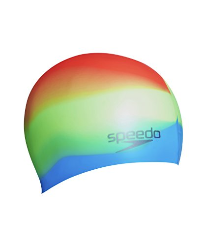 Speedo Erwachsene Mütze Multi Colour Silicone Cap AU, Green Fizz/Japan Blue/Siren, One Size, 8-06169A085