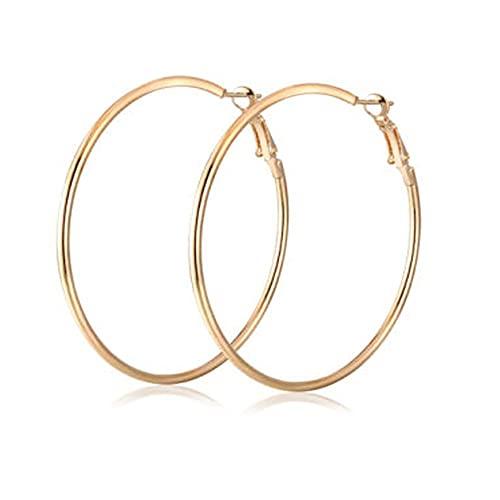 SM FASHION Golden Big Round Hoop Earrings For Women / Girls | Fancy & Stylish Daily / Party Earrings Brass Hoop Earring