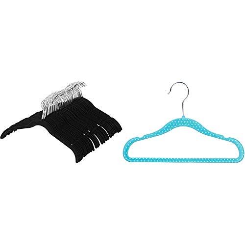 Amazon Basics Kleiderbügel für Hemd / Kleid, mit Samt überzogen, 50er-Pack, Schwarz & Kinderkleiderbügel mit Samtbezug, 30er-Pack, Blau gepunktet