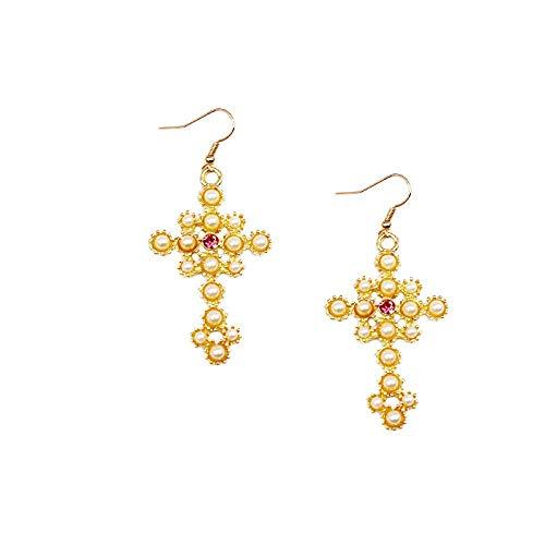 JIAJBG Pendientes de Navidad Pendientes Mujeres Moda Golden Simple Estilo Faro Faro Blanco Cross Pure Perl Pendientes Exagerados Exquisito/B