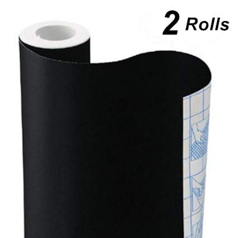 TAKSDAI Chalkboard Vinyl Paper Wall Decal Sticker Adhesive Blackboard, 2 Rolls Eraserable Adhesive Paper Blackboard Surface Wallpaper with Bonus 10 Colorful Chalks,Each Roll 17.7'' × 78.7''