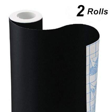Chalkboard Vinyl Paper Wall Decal Sticker Adhesive Blackboard, TAKSDAI 2 Rolls Eraserable Adhesive Paper Blackboard Surface Wallpaper with Bonus 10 Colorful Chalks,Each Roll 17.7'' × 78.7''