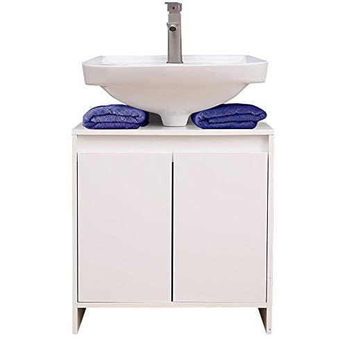 Etnicart - Mobiletto sottolavabo per Bagno 58(L) x33x60 armadietto sottolavello Cucina in Legno con 2 sportelli Bianco Ottima capienza Interna-