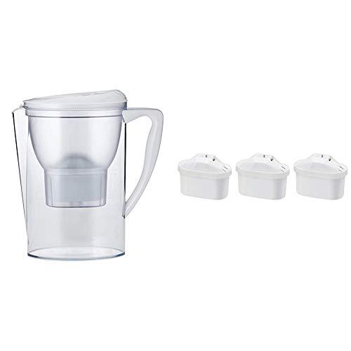 Amazon Basics - Krug mit Wasserfiltereinsatz, 2,3 l, mit 3er-Packung Wasserfilter-Patronen + 1 gratis, insgesamt 4 Stück - für Brita-Maxtra®-Krüge (nicht Maxtra+®)