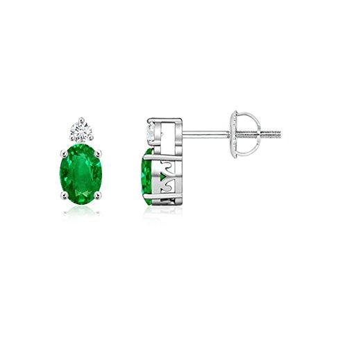 Negro viernes–puede Birthstone–Cestas de mimbre ovalado Natural Emerald Stud Pendientes para mujeres con diamantes