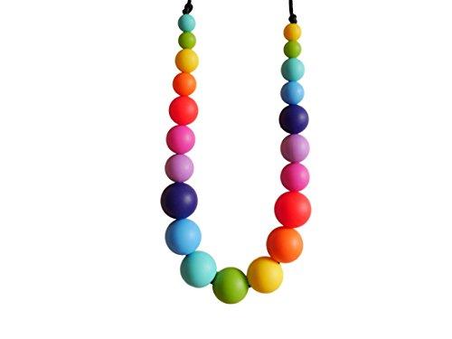 Baby Zahnungshilfe Perlen Halskette aus 21 Silikon Perlen im Regenbogen Design – Geschenk für Schwangere und Stillen Kette – Baby Silikon Kette in sorgsamer Handarbeit gefertigt von MilkMama