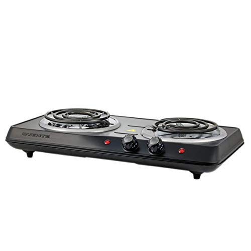 Ovente 5.7 & 6 Inch Double Hot Plate Electric Coil Stove, Portable 1700 Watt Cooktop Countertop Kitchen Burner with Adjustable Temperature Control & Stainless Steel Base Easy to Clean, Black BGC102B