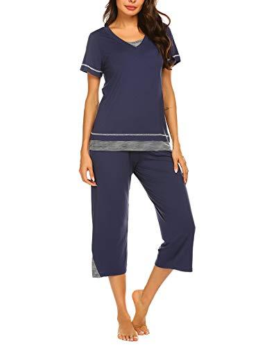 Ekouaer Pajamas for Women Soft Modal Jammies, Top and Capri Lounge Pants (Blue,1XL)