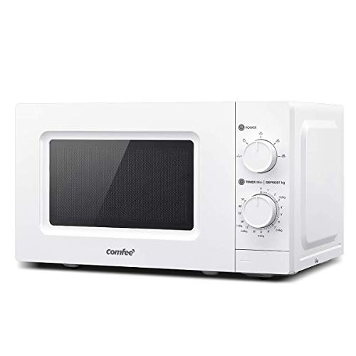 COMFEE' 700 w 20 L Microwave Oven with 5 Cooking Power Levels, Easy Defrost Function, and Kitchen Timer - Fashionable White - CM-M202GSF, Amazon Exclusive