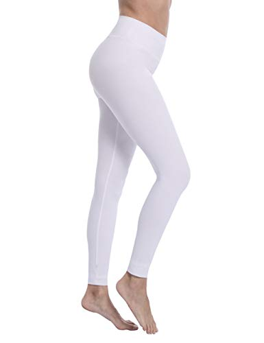 Natural Feelings High Waisted Leggings for Women Ultra Soft Stretch Opaque Slim Yoga Leggings Plus Size, White-3''waitband