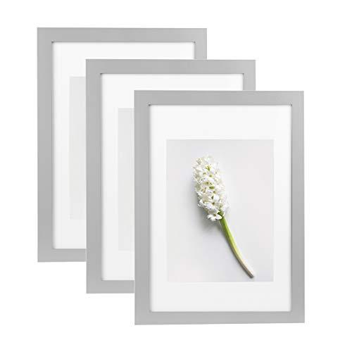 Home&Me 100% Echtholz Bilderrahmen Grau A4 3er Set -mit Passepartout 15x20cm, Fotorahmen mit Echtglas für Zertifikat zum aufhängen und aufstellen